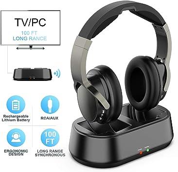 Auriculares Inalambrico TV con Transmisor y Port 3.5mm AUX, Auricular De Diadema para Television: Amazon.es: Electrónica