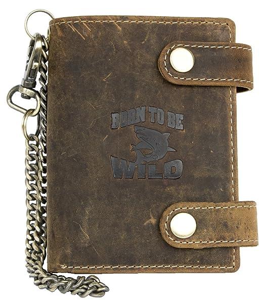 Billetera marrón Born to be wild estilo motero de cuero con cadena de metal con tiburón: Amazon.es: Ropa y accesorios