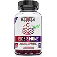 Elder-Mune Sambucus Elderberry Gummies - Antioxidant Flavonoids, Immune Support Gummy Vitamins, Zinc Supplement & Vitamin C Supplement