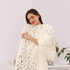 clootess Chunky Knit Blanket Chenille Throw - Warm Soft Cozy for Sofa Bed Boho Home Decor (Ivory 40x40 in)
