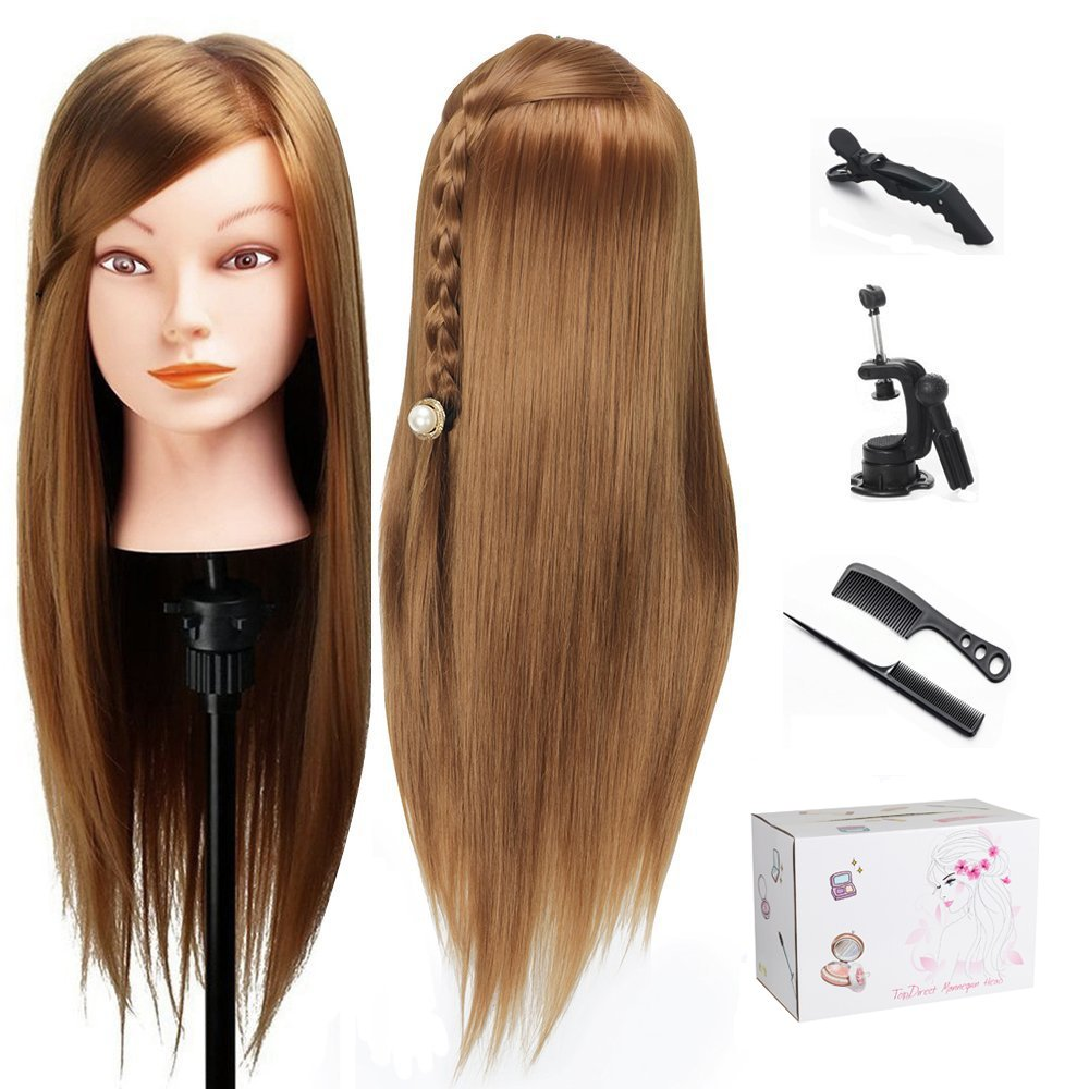 Training Head, TopDirect 75cm/29.5 Long Hair Cosmetology Hairdressing Mannequin Manikin Doll with Makeup Function + Braid Sets + Free Clamp