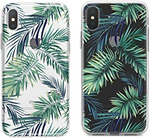 Obbii Clear Case for iPhone X/Xs Unique Design Hard Shell Solid PC Back Soft TPU Bumper Protective Case for iPhone X (5.8inch) (Palm Tree Leaves)