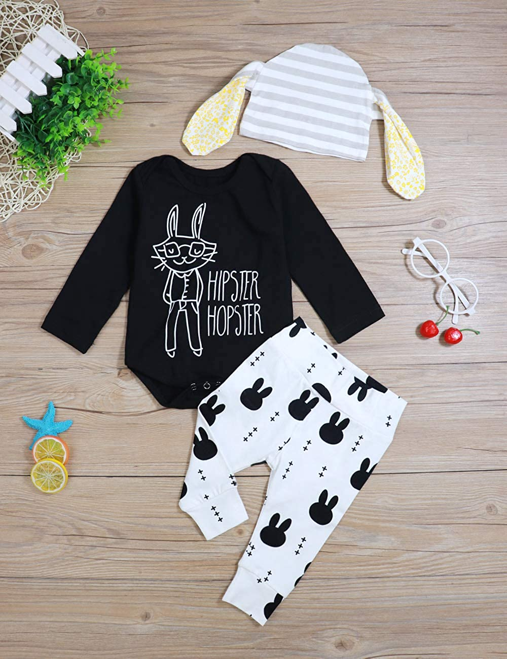 4e536e1b9ef4a Baby Boy Girl My 1st Easter Outfit Hopster Hipster Bodysuit Romper+ Bunny  Pants+Hat 3Pcs Clothes Set Black