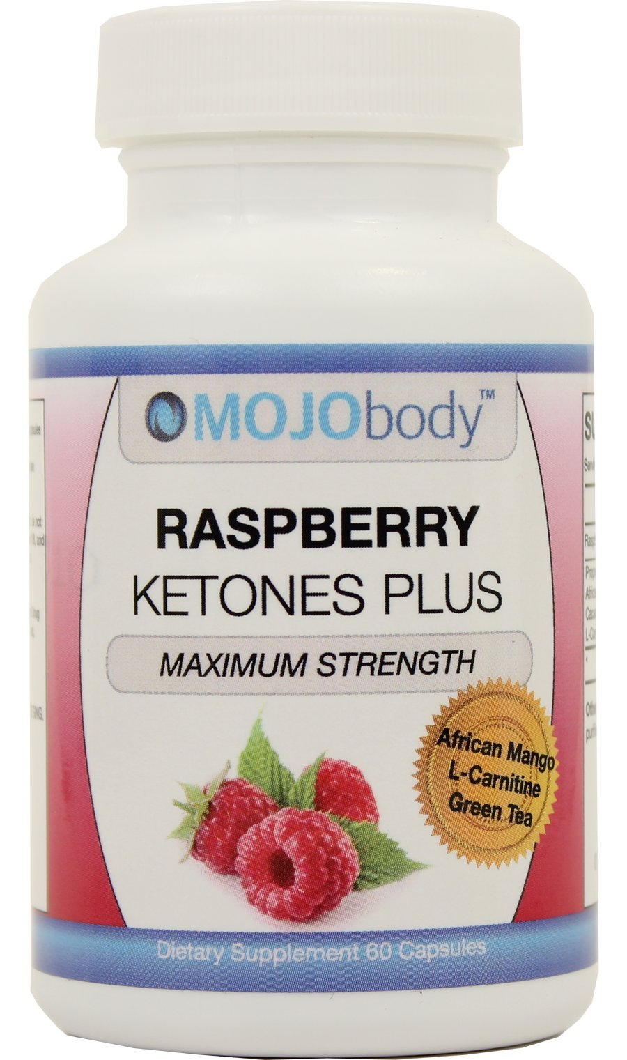 MOJObody Raspberry Ketones Plus African Mango (Appetite Suppressant), Green Tea (antioxidant), Theobromine (Energy) and L-Carnitine (Supports Lean Muscle Mass)