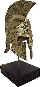 Talos Artifacts Leonidas Helmet King Spartan Hero Alabaster Small Sculpture with Bronze Effect
