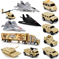 Liberty Imports Set of 12 Special Forces Military Vehicle Playset for Kids - Scaled Army Toy Vehicles Includes Stealth…