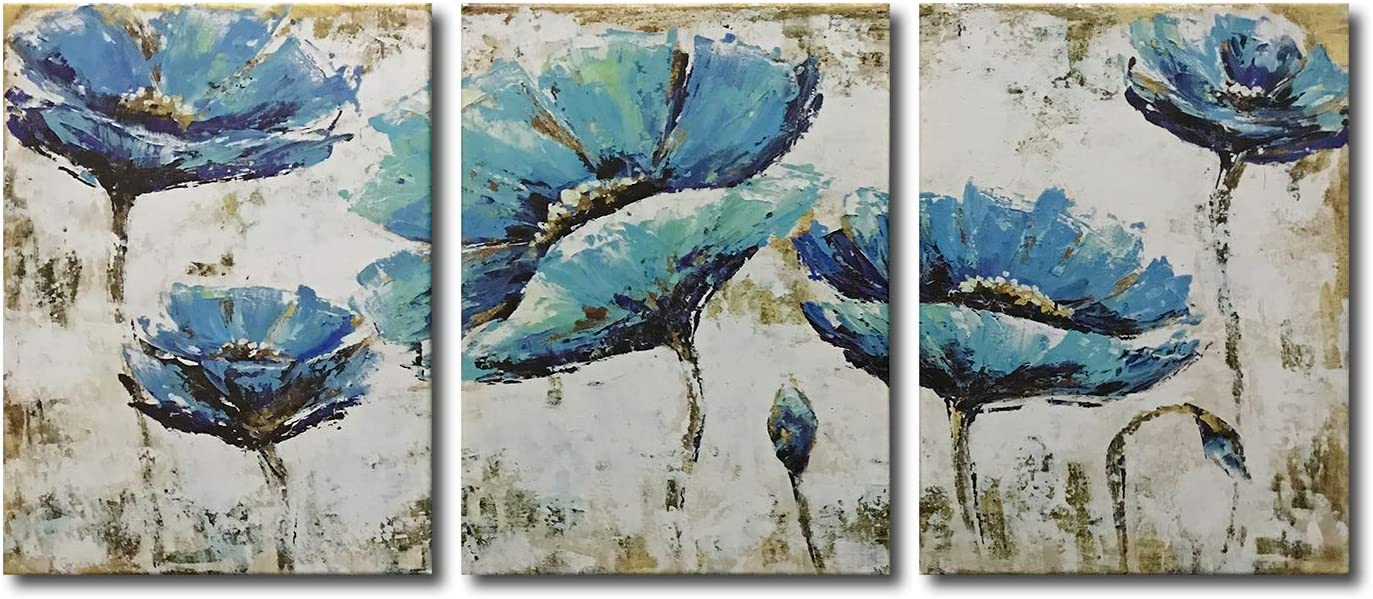 Yatehui Blue Flowers Canvas Wall Art Floral Prints 3 Pieces Home Decor Botanical Pictures For Bathroom Ready To Hang 12 X 16 Inches Posters Prints