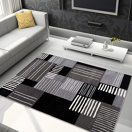 Salotto Moderno Nero.Tapiso Jawa Tappeto Camera Salotto Soggiorno Moderno Nero Grigio Disegno Geometrico A Quadri 140 X 190 Cm