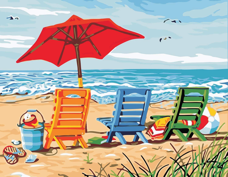 VIKMARI Kit de Pintura por números para Adultos Paisaje DIY Pintura al óleo por número Kit para niños Pintura por número con Pinceles Lupa para decoración de Pared 40 x 50cm Silla de Playa Sin Marco