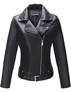 3bef0ce1d3 Bellivera Women's Faux Leather Short Jacket,Moto Casual Coat for Spring and  Autumn