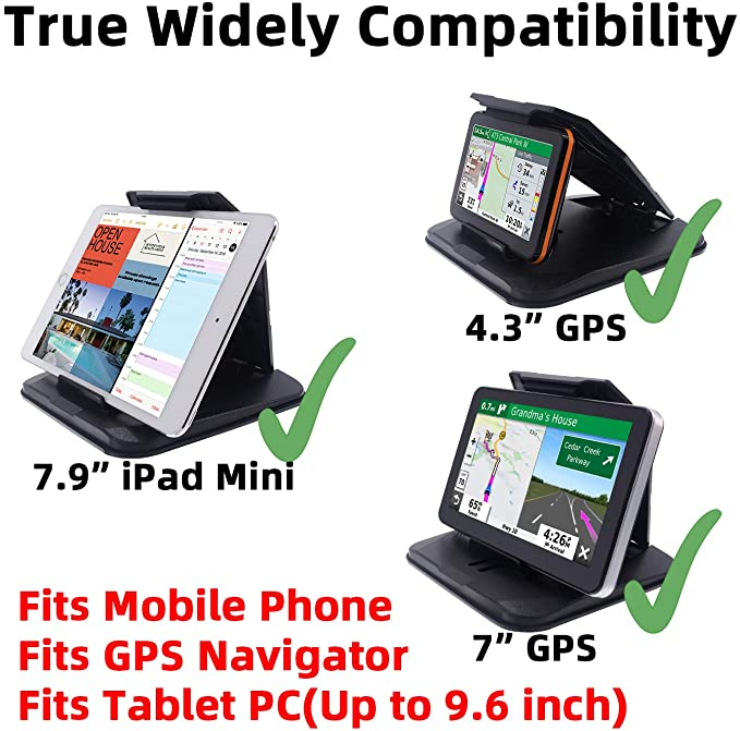 iSaddle Dashboard GPS Mount Holder Universal Dashbaord Phone Tablet PC Navigation Holder for Garmin Nuvi Tomtom iPhone iPad Galaxy Yoga Android Fits 4.3-9.6 GPS /& Smartphone Friction Mount Holder