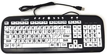 c5c4693b98e EZSee by DC: New and Improved - Large Print Computer Keyboard Wired USB  White Keys