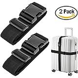 Luxebell Gepäckgurt, 2 Stück Koffergurt Kofferband Koffer Gepäckgurte Lang (Schwarz)