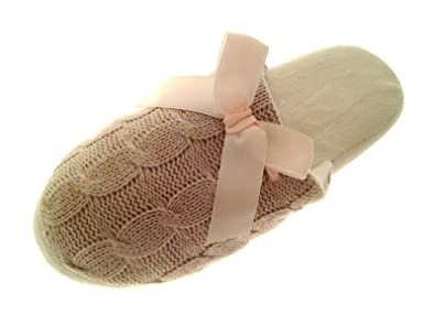 Ladies / Womens Knitted Style Slippers / Mules / Shoes with Soft Wearm Faux Fur