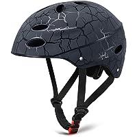 SKL Kids Helmet Skateboard Helmet Protective Gear Roller Skating Scooter Cycling Helmet with ABS shell for Children Youth (Black/Red/Blue, 52-56cm)