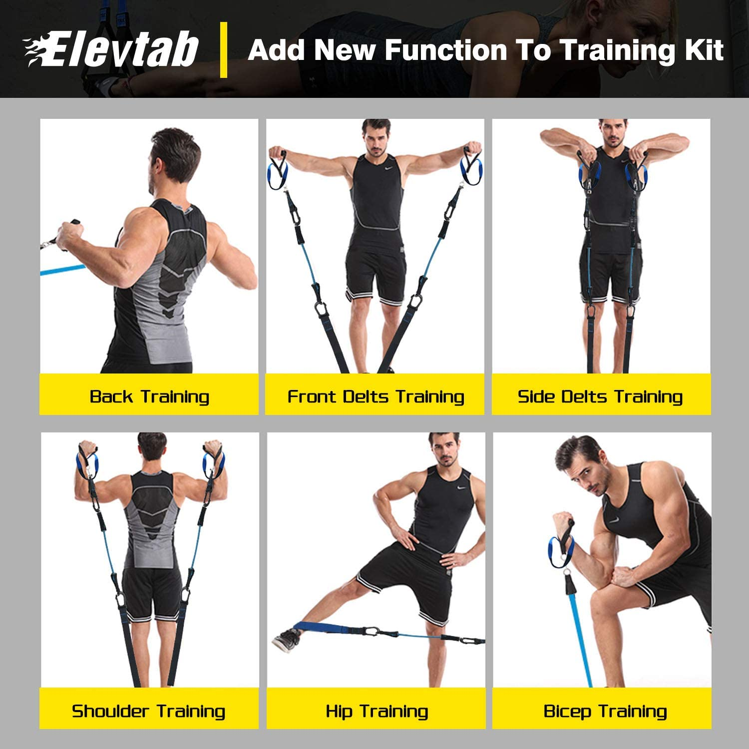 Complete Home Gym Fitness Trainer kit for Full-Body Workout NEA Bodyweight Resistance Training Straps Fitness Guide and 4 Bands Included Door Anchor 16 Week Program Extension Strap