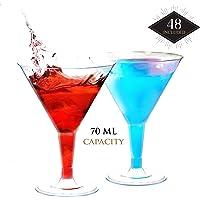 48 Mini Copas de Martini Plástico, Transparente 70ML|Resistentes