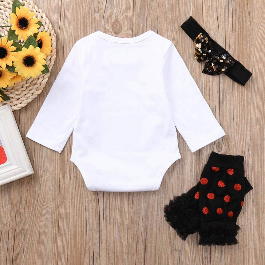 KaiCran Baby Cotton Bodysuit,Newborn Baby Girl Long Sleeve Bodysuit Romper Leggings Headbands Outfits Clothing Set
