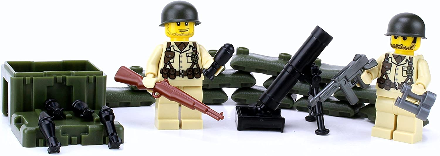 ww2 toy mortar throw bombs minifigures compatibile lego ww2 brick ww2 toy gun