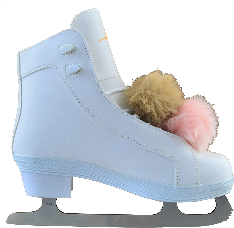 White American Athletic Shoe Pom Pom Figure Skate