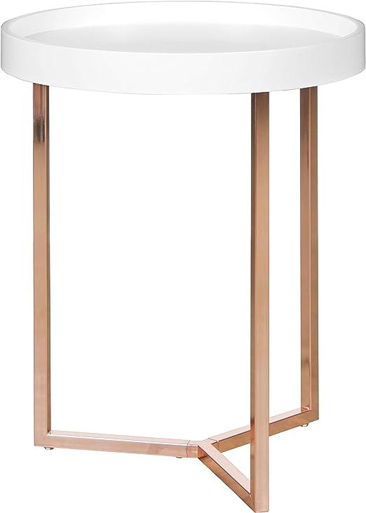 Wohnling – Mesa Auxiliar, Redonda, diámetro de 40 cm, Color Blanco ...