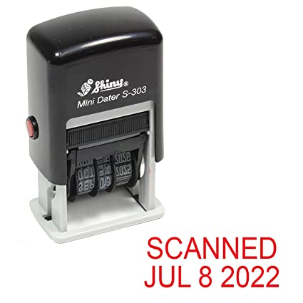 Shiny Self Inking Rubber Date Stamp SCANNED S 303 Red Ink