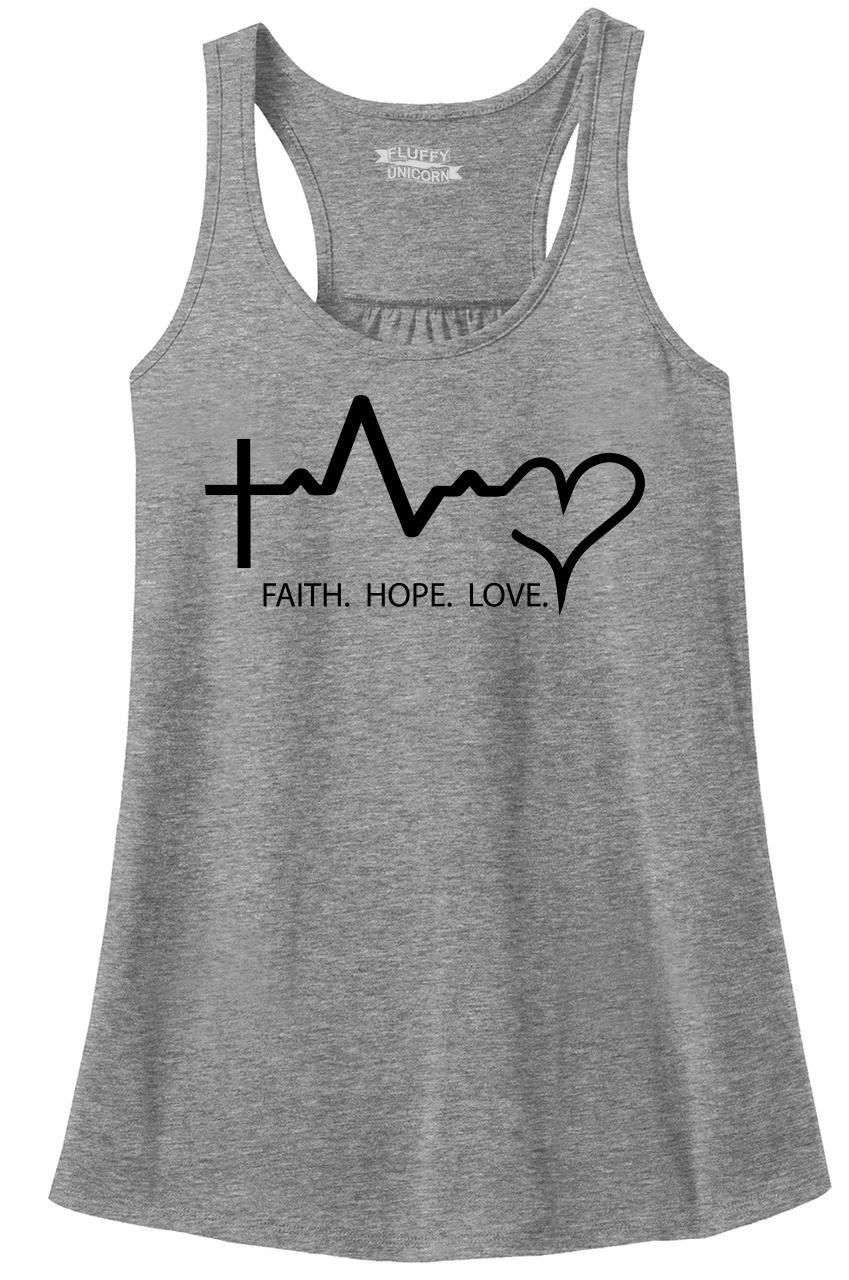 Ladies Racerback Tank Faith Love Hope Sport Grey M by Comical Shirt (Image #1)