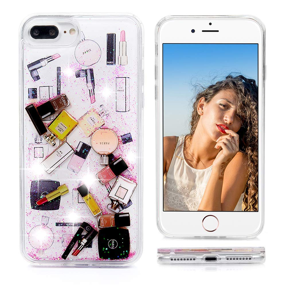 iPhone 8 Plus Case,iPhone 7 Plus Glitter Case, Liquid Floating, Cosmetic Makeup Lipstick Perfume Patterned,Soft TPU Bumper Frame PC Shell, Quicksand Bling iPhone 7 Plus Case for Girls (Hot Pink)