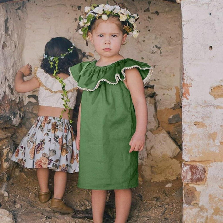 Amazon.com: Baby Green Dress Summer Sleeveless Solid Dresses Ruffles ...