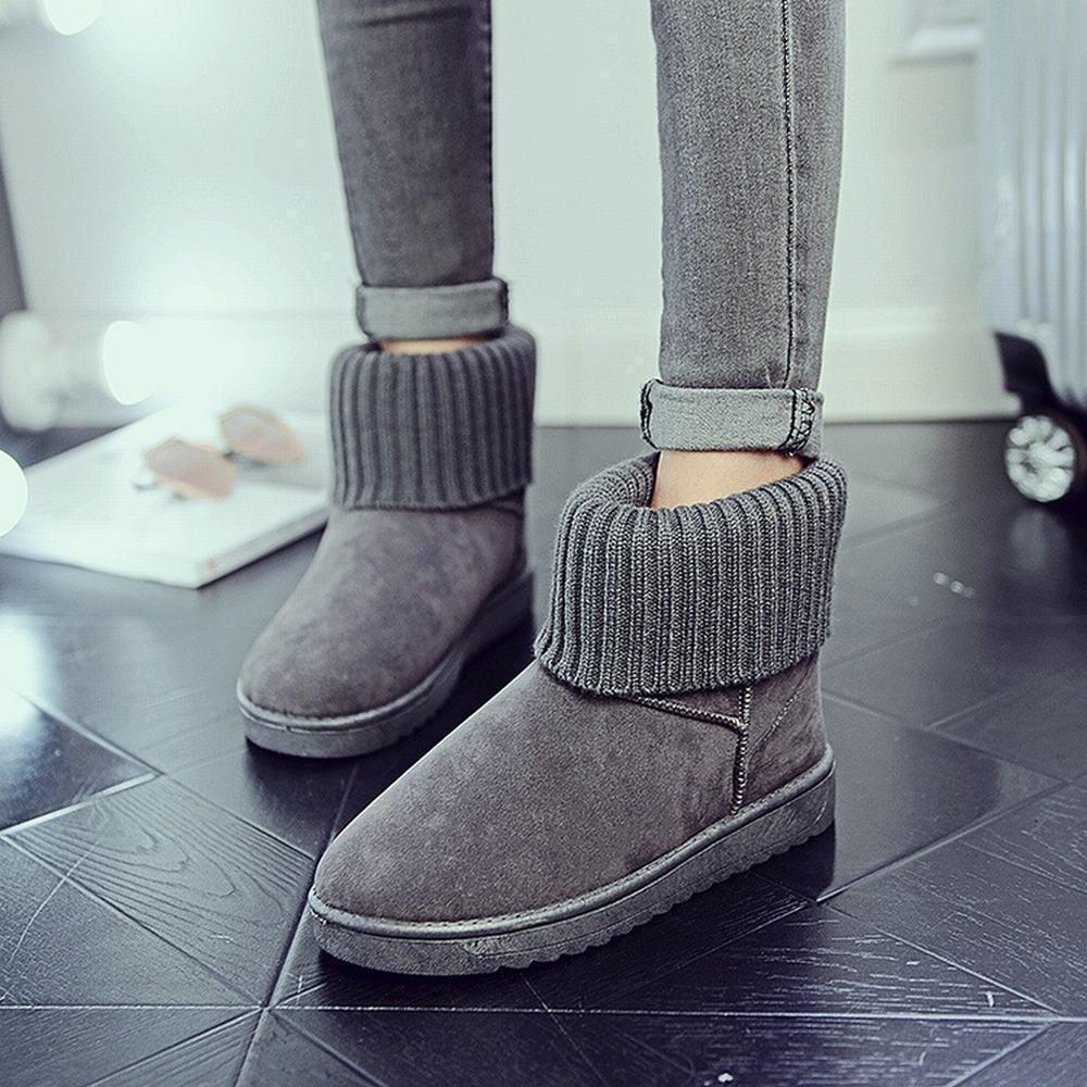 DXD Modische Frauen Frauen Frauen Stricken Rohr Schuhe Warme Schnee Stiefel Baumwolle Schuhe Rosa Linie Plus Cashmere Schuhe Winter 067a58