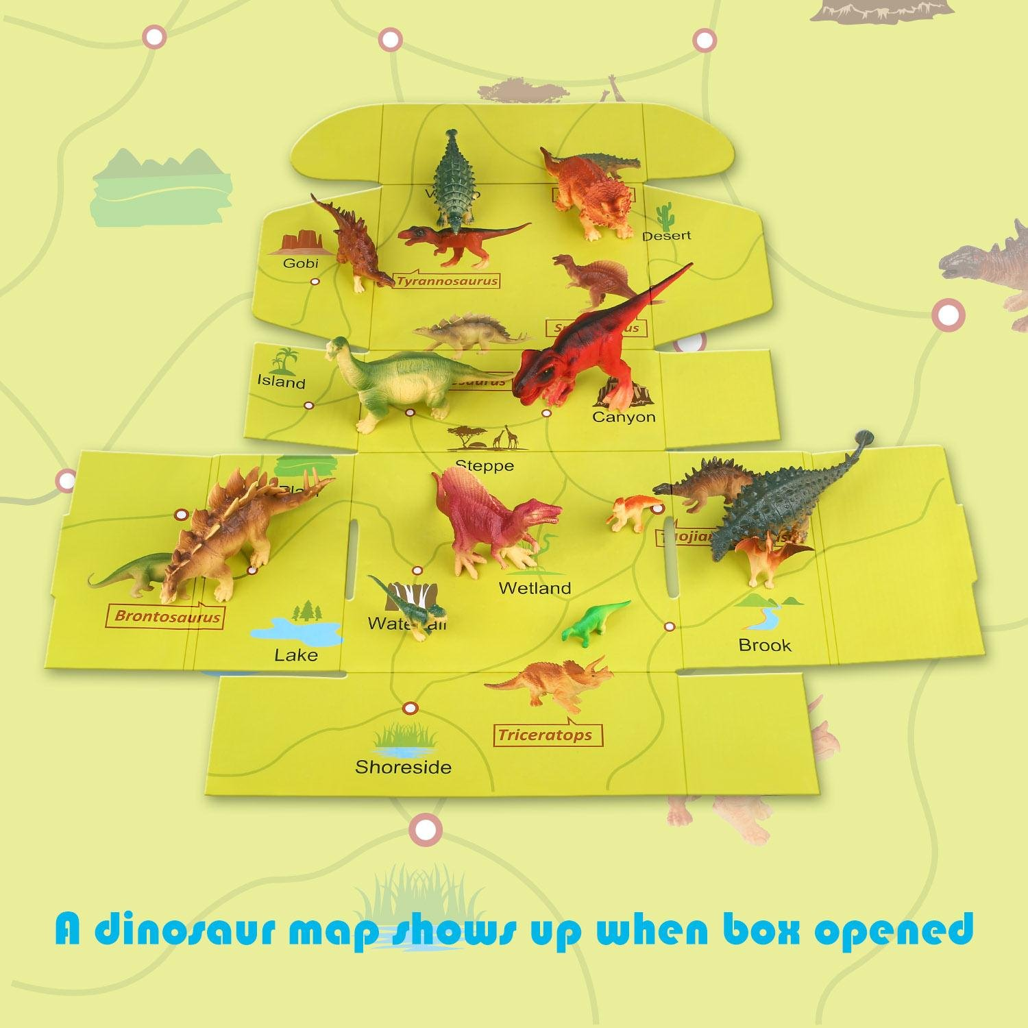 Dinosaurs Toys Assorted Figures Plastic Family Animal Set with T-Rex, Stegosaurus, Triceratops, Maps and others Eggs Pack of 16 by Peradix