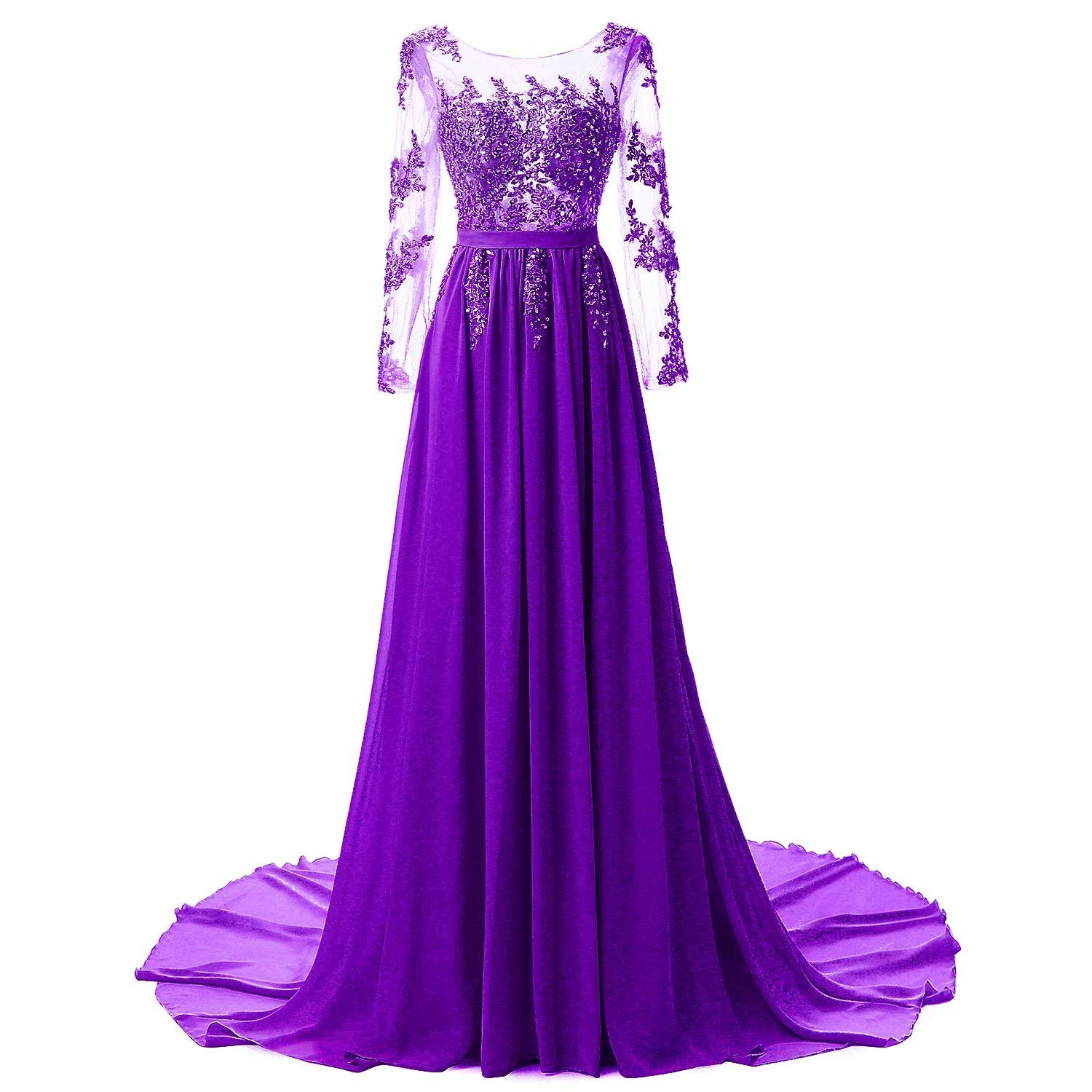 Purple Honeywedding Women's Long Sequins Beaded Evening Dress with Long Sleeves Formal Prom Gown Dresses