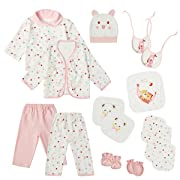 0-3 Months Girl Boy Clothes Newborn Layette Set Infant Essentials Outfits (Pink)