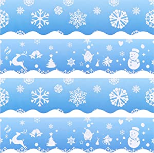 Snowflake Bulletin Borders Stickers, 80 ft Christmas Party Decoration Sticker for Bulletin Board, Chalkboard, Whiteboard Trim, Xmas Holiday Classroom School Decoration Home Party Supplies