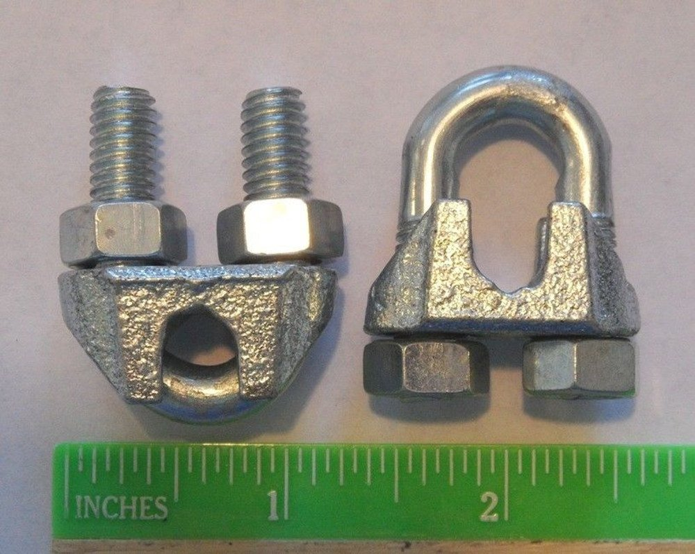"""Cable Clamps U-Bolts 100 pcs 1/4"""" Clamps Steel"""