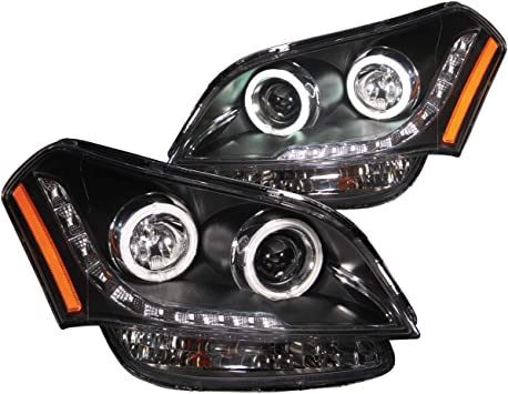 AnzoUSA 121408 Black//Clear//Amber Halogen Projector Headlight for Honda Accord
