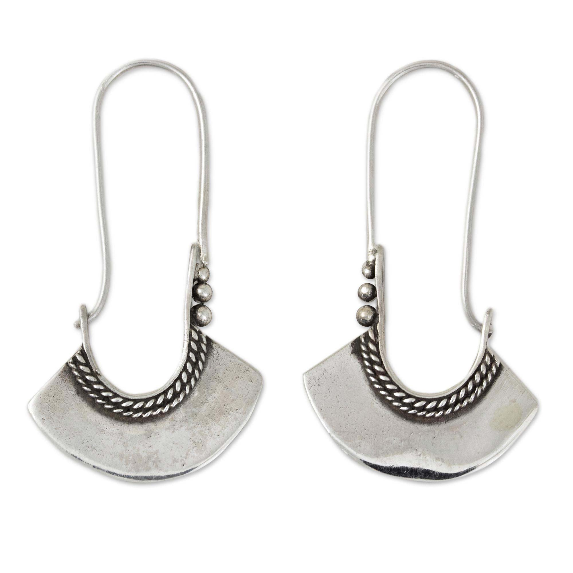 NOVICA .925 Sterling Silver Hoop Earrings with Hook Backfinding, Hollow Bell'