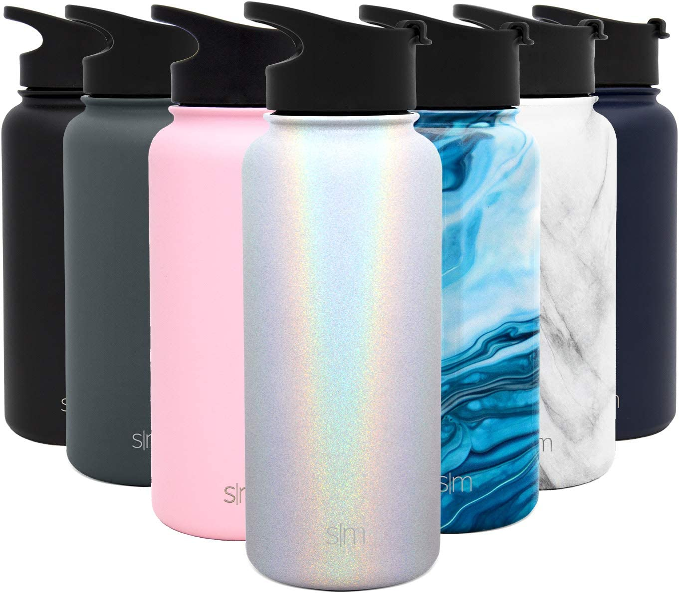 Simple Modern 32 Ounce Summit Water Bottle - Stainless Steel Tumbler Metal Flask +2 Lids - Wide Mouth Double Wall Vacuum Insulated Leakproof Shimmer: Selenite