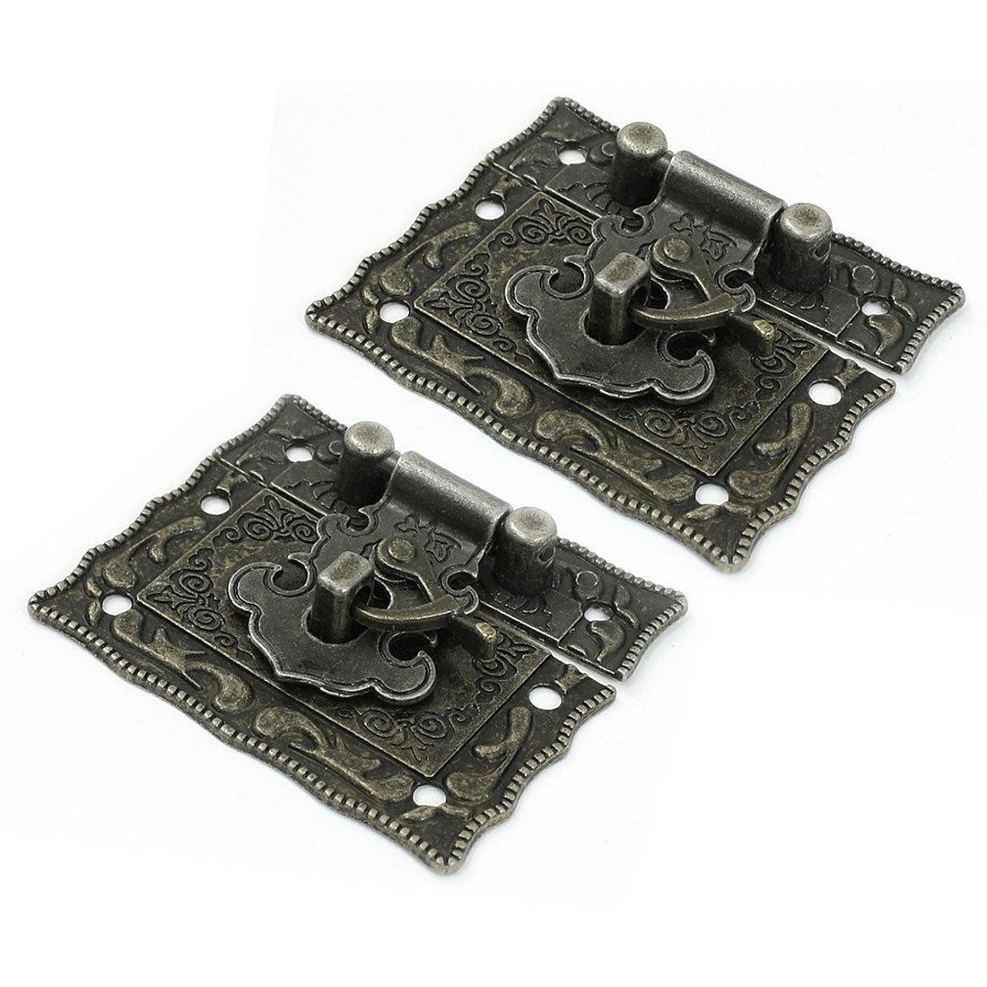 SODIAL(R) 2 Pcs Antique Style Hardware Bronze Tone Metal Rectangle Latch 42mm x 51mm