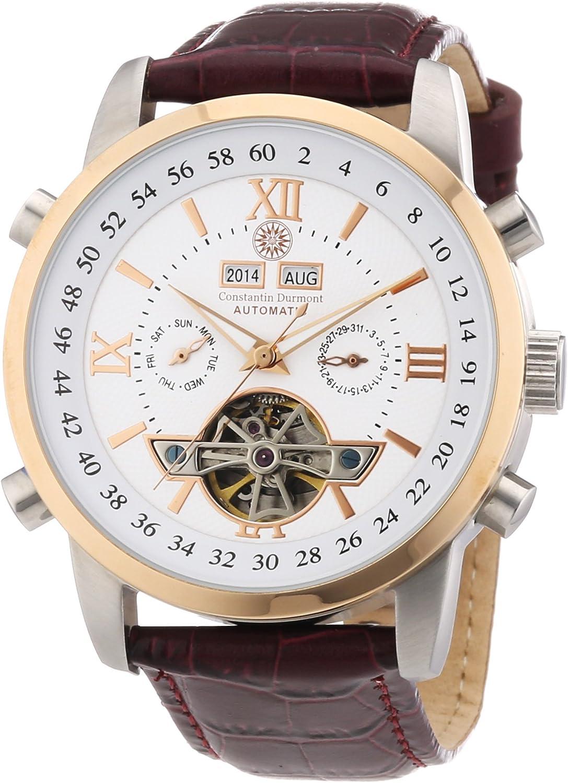 Constantin Durmont Calendar - Reloj analógico de caballero automático con correa de piel marrón - sumergible a 30 metros
