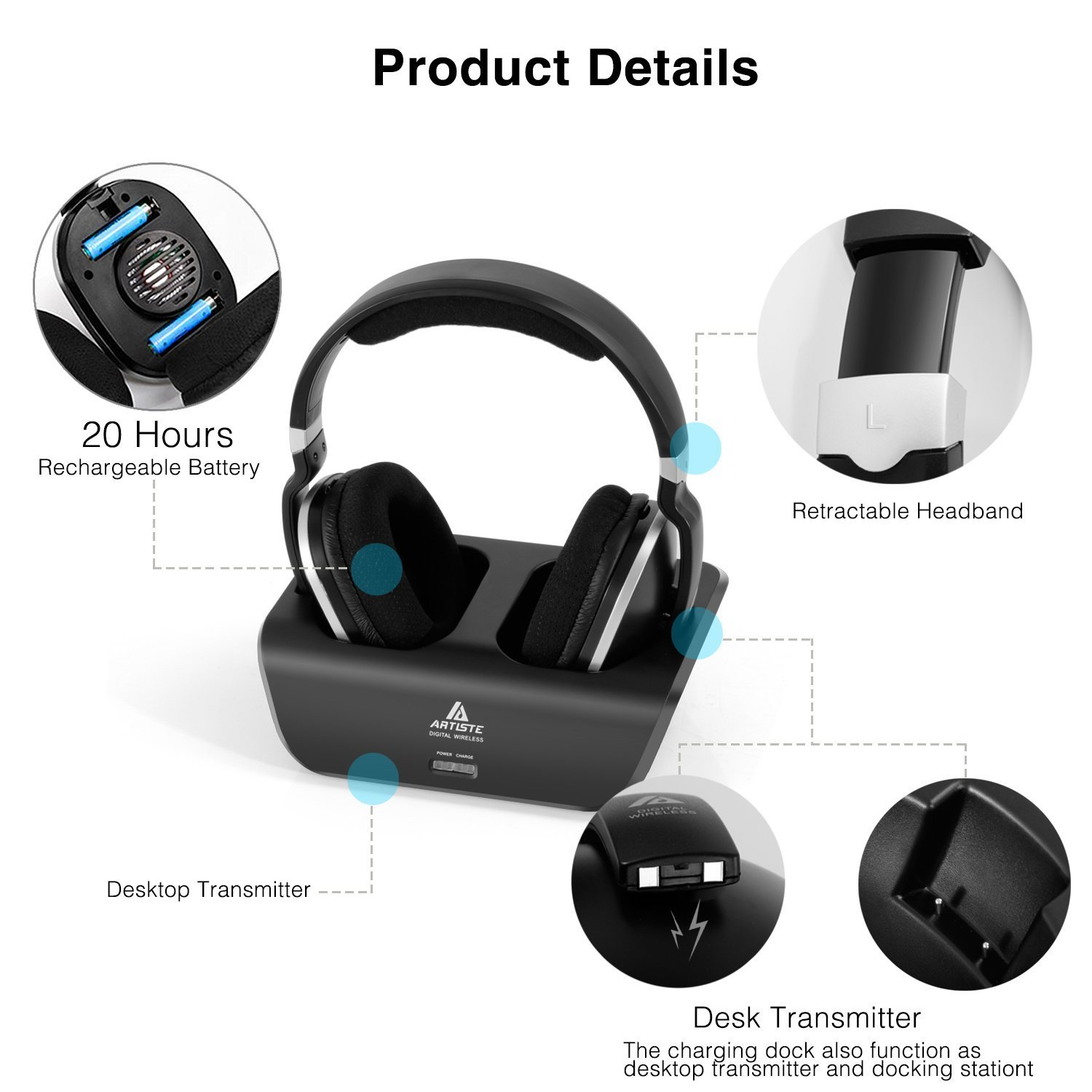 Wireless TV Headphones Over Ear Headsets - Digital Stereo Headsets with 2.4GHz RF Transmitter, Charging Dock, 100ft Wireless Range and Rechargeable 20 Hour Battery, Black by ARTISTE (Image #2)