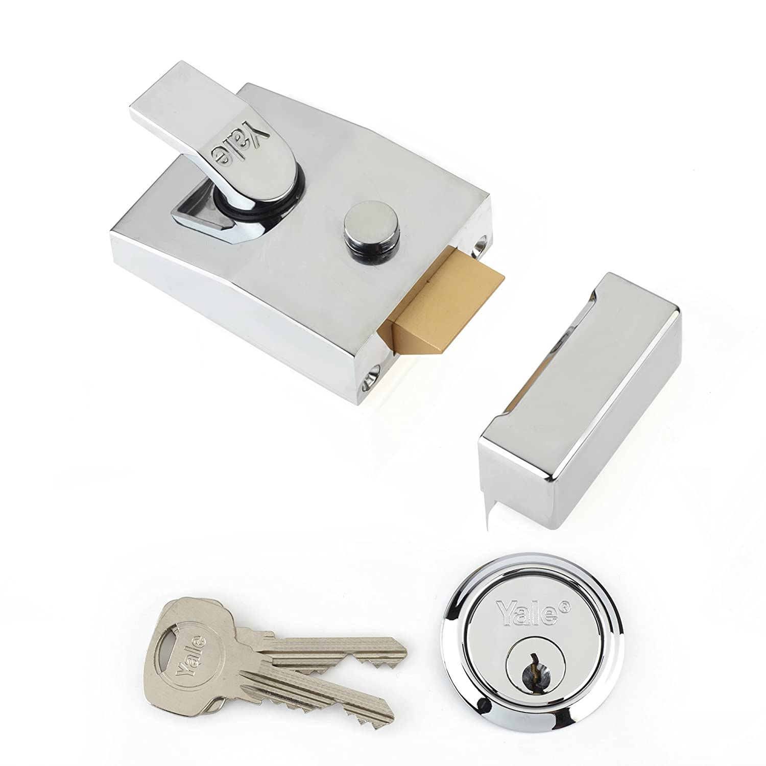 Yale Locks P89 Deadlock Nightlatch DMG Brass Cylinder 60 mm Backset Visi Pack YALP89DMGPB