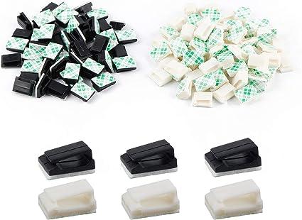 Bureau et Maison 13 x 10 mm, Noir Paquet de 50 Clips de C/âble Auto-Adh/ésif Clips de Fil /Électrique Clips de Gestion de C/âbles pour Voiture