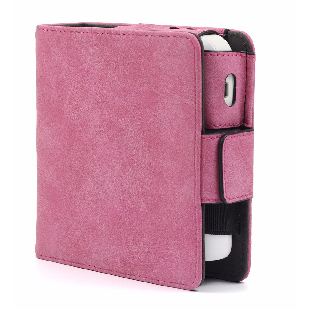 Ocamo PU Leather Shockproof Anti-scratch Protective Storage Case with Card Slots for IQOS Electronic Cigarette Frosted pink
