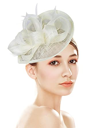 17577814091 Z X Sinamay Fascinator Pillbox Hat with Headband Hair Clip for Cocktail Tea  Party Beige