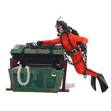 Vivid Treasure Hunt Frogman Diver Figura de Acción Decoración Ornamento del Tanque de Peces Decoración del Acuario Paisaje Naranja: Amazon.es: Juguetes y ...