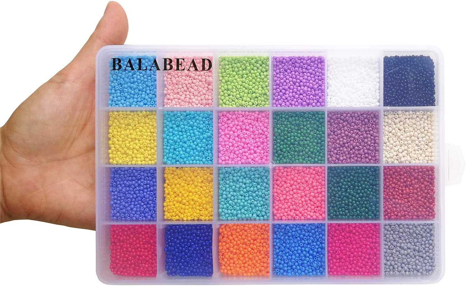 700pcs//Color, 24 Colors About 16800pcs 24 Multicolor Assortment in Box Size 12//0 Seed Beads for Jewelry Making BALABEAD Size Almost Uniform Craft Glass Seed Beads with Beading Tool
