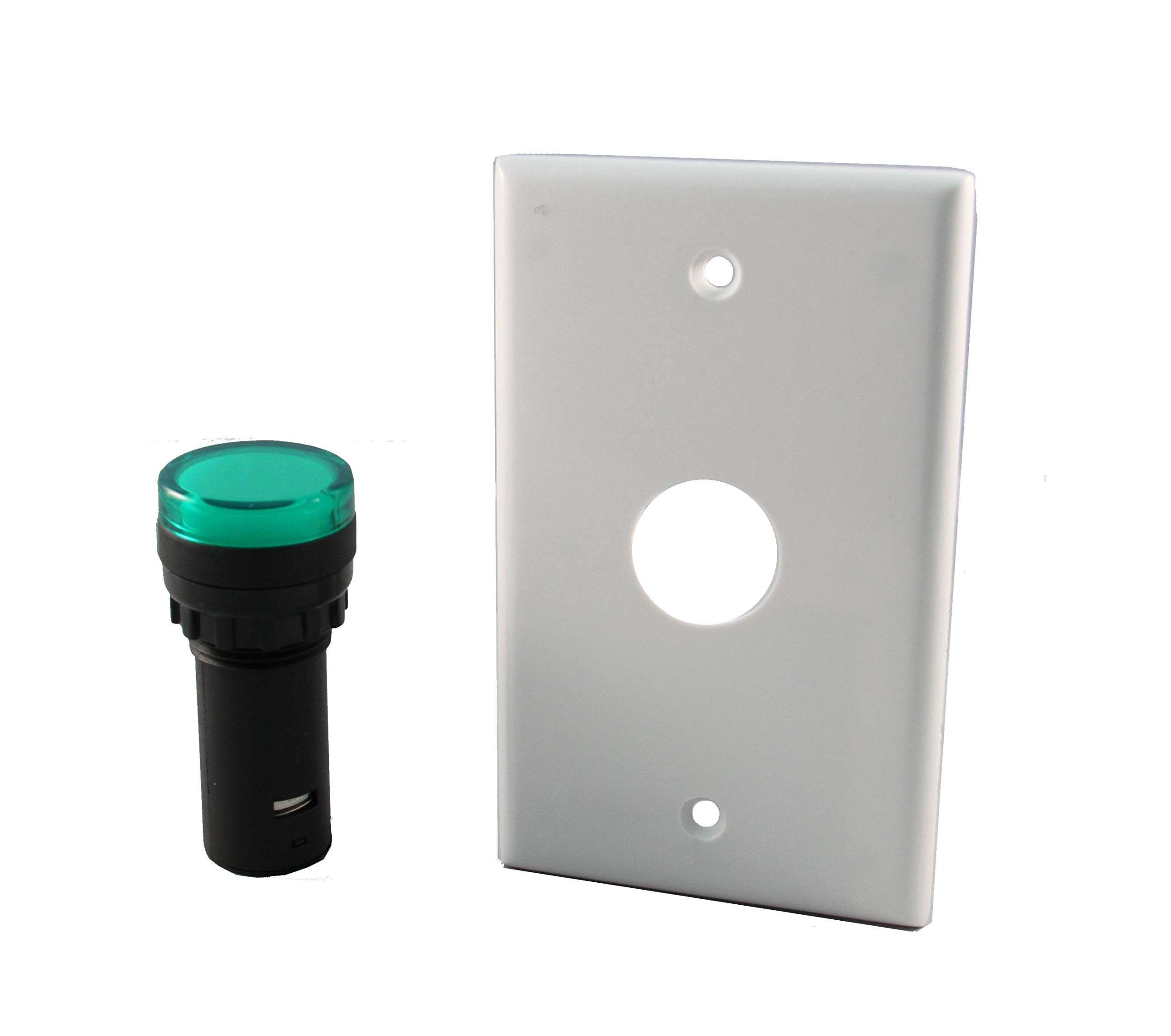 LED 22mm Indicator Light With Wall Plate, 120VAC Green
