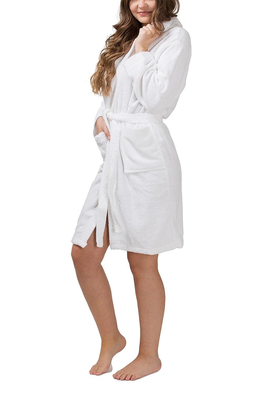 SLOUCHER Albornoz Tejido de Rizo para Mujer, Bata de Sauna con Capucha 100% algodón
