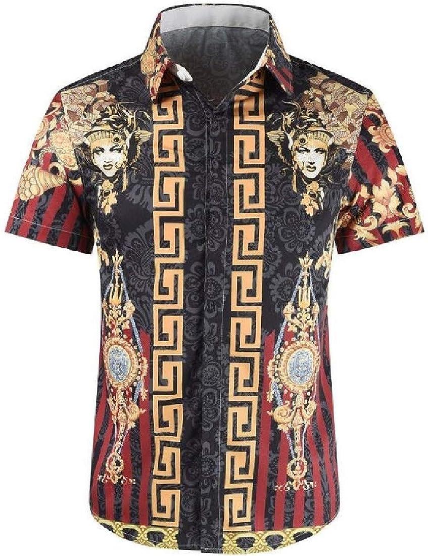 Domple Men Dashiki African Print Fashion Short Sleeve Button Up Shirts